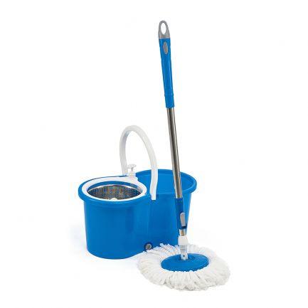 Mop rotativ cu mâner telescopic, găleată cu storcător și cuvă metalică, Super Easy Clean 360, 12L