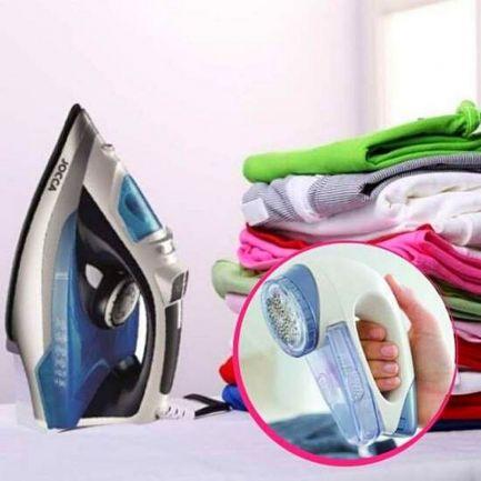 Pachet Avantajos: Fier de călcat cu aburi + Aparat electric pentru curățarea scamelor Bobble Off