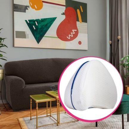 Pachet avantajos: Husă canapea 2 locuri Easy Cover Elite, maro + Pernă ortopedică, Comfy Pillow