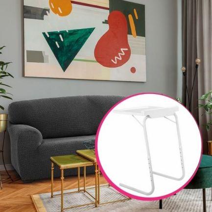 Pachet avantajos: Husă canapea 3 locuri EasyCover Elite, gri  + Măsuță pentru laptop, Home Vero