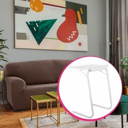 Pachet avantajos: Husă canapea 3 locuri EasyCover Elite, maro + Măsuță pentru laptop Home Vero