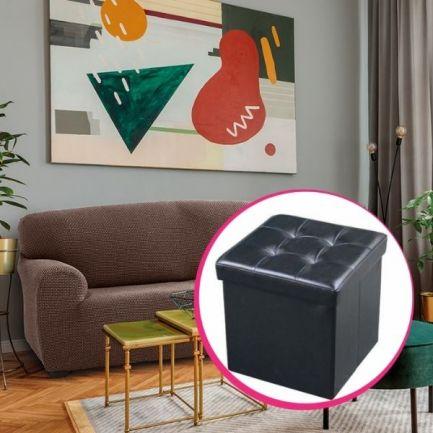 Pachet avantajos: Husă canapea 3 locuri EasyCover Elite, maro +Taburet piele ecologică, negru