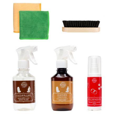 Set pentru îngrijirea interioarelor auto din piele, Bio Green