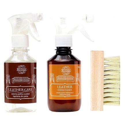 Set detergent, balsam și perie pentru îngrijirea suprafețelor din piele, Bio Green